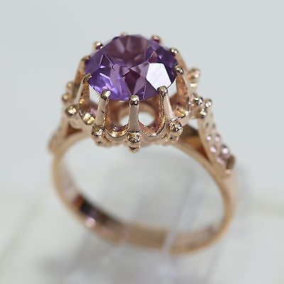 VINTAGE RUSSIAN (USSR) SOLID 14K ROSE GOLD & AMETHYST RING, 5.2 gms, size 6, EXC
