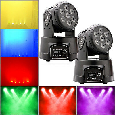 2PCS 7x10W RGBW 4in1 LED Moving Head Stage Light 9/14CH DJ Club Party Lighting