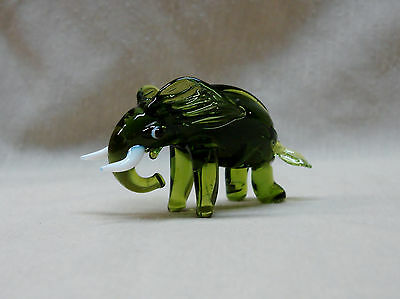 "Small Solid GLASS ELEPHANT FIGURINE 3"" Tall"
