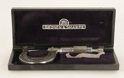 "Brown and Sharpe  0-1"" Micrometer  NO.13 In Black Case w/ Wrech Machinists Tool"