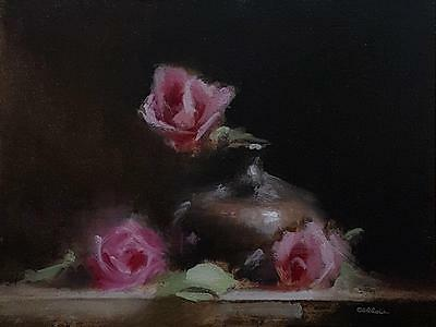 Neil Carroll Original Oil Painting Realism Impressionism Still Life Roses