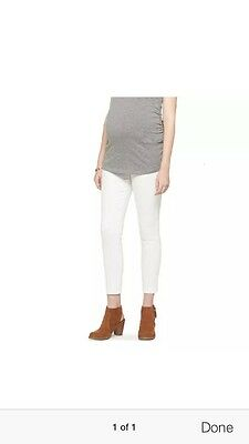 Liz Lange Maternity Inset Under Belly Ankle Skinny Jeans White XL XXL Pants