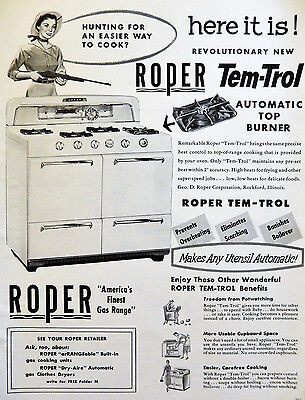 Vtg 1956 rifle woman Roper gas range retro kitchen advertisement print ad art