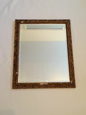 Antique Style Gilt Framed Bevelled Edge Rectangle Wall Hanging Mirror