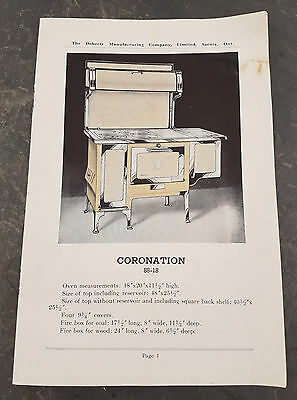 HTF 1910's Doherty Manufacturing Cook Stove Range Heater Catalogue Sarnia, ON