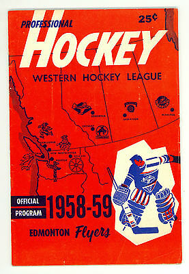 HTF 1958-59 Edmonton Flyers WHL Hockey Program vs. New Westminster Royals
