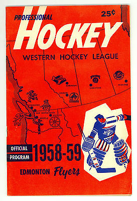 HTF 1958-59 Edmonton Flyers WHL Hockey Program vs. Calgary Stampeders #2