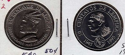 "Honduras 50 centavos 1973 and 1994 ""FAO"""