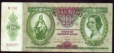 1936 Hungary 10 Pengo F Vintage Paper Money Banknote Rare Old Antique Currency