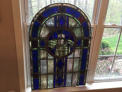 "Antique Leaded Stained Glass Window Panel 1930s Staten Island Parish 27"" x 40"""
