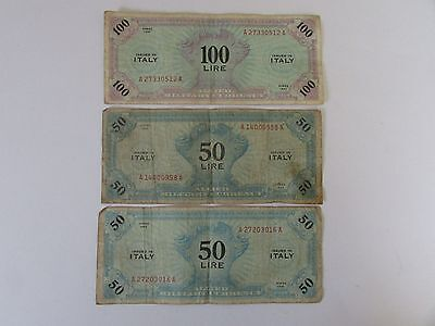 1943 Italy Allied Military Currency , 3 Notes,  Lire ,  Two 50 Lire &  One100 Li