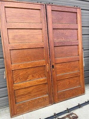 "An 46 Match Pair Antique Flat Panel Oak 36 Inch Pocket Doors 84"" X 2.25"""