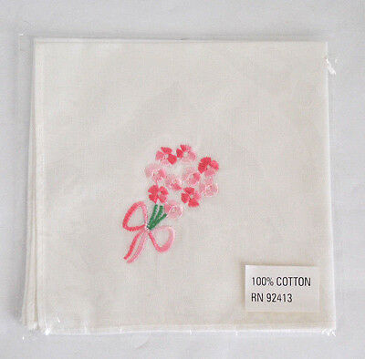 New Old Stock Cotton Pink Flower Bouquet Embroidered Handkerchief