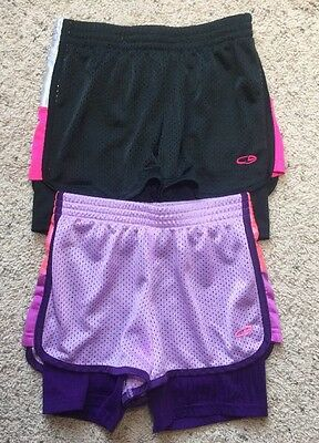 Girls Lot of 2 Champion Brand Duo Dry Athletic Shorts Size Large (8-10)-EUC
