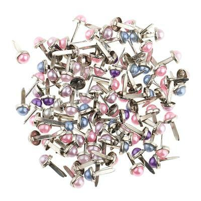 200pcs Mixed Color Pearl Head Brads Paper Fasteners Scrapbooking Paper Craft