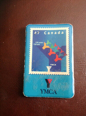 Vintage YMCA Rare Magnet Of Canadian 47 Cent Stamp 150 Years In Excistence