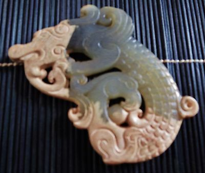 Chinese Carved Jade Dragon Pendant