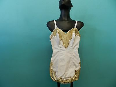 Vintage 1950's Women's Gold Lame Rhinestones Bombshell Pin Up Swimsuit VLV