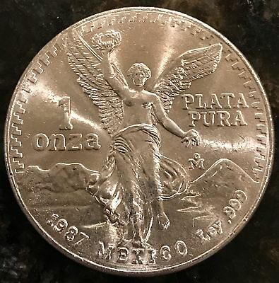 1987 1 Oz Silver Mexican Libertad  .999 Fine Uncirculated-Low Mintage Of 500,000