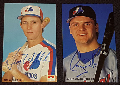 Montreal Expos - Mlb - Larry Walker - Tim Wallach - Autographs Postcards (2)