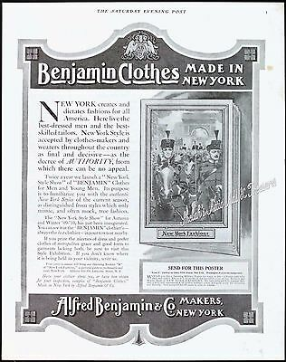 1909 BENJAMIN CLOTHES NY Fashions Plumed Military Hats Orig Old Vintage PRINT AD