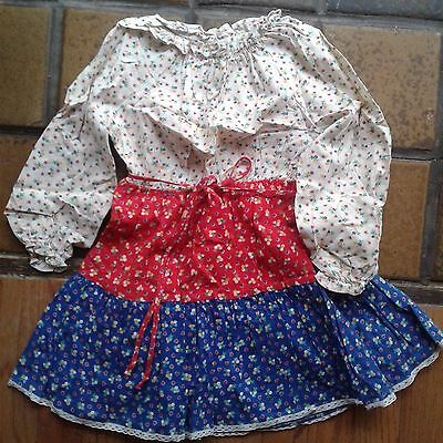 Vintage Nannette Floral Dress Red, White, Blue Size 5 Girls Dress