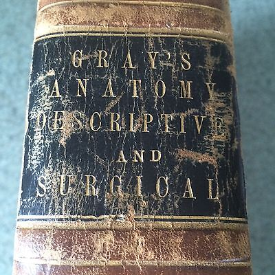 1870 Grays Anatomy Descriptive and Surgical Leather Bound Book Medical