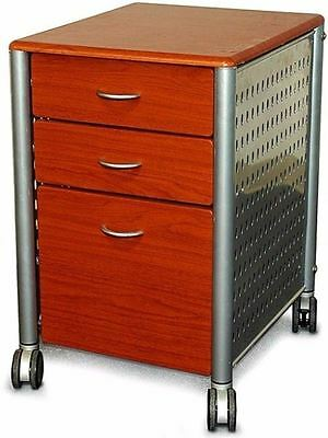 Innovex Mobile Cherry Wood Three-Drawer Filing Cabinet Home Office Furniture