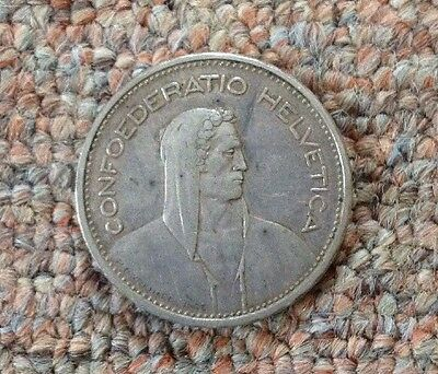 1931 B Switzerland Five 5 Francs FR .720 Silver Coin