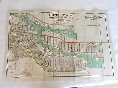 Real Estate Map Selling SHAKER HEIGHTS VILLAGE OHIO Color Map May 1914 Vintage