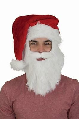 Adult Santa Hat with Beard & Mustache Christmas Mens Xmas Red Long Hat NEW