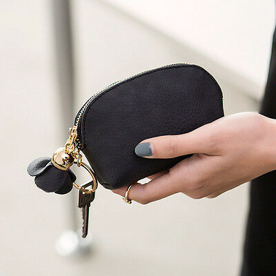 Women Leather Small Mini Wallet Card Key Holder Zip Coin Purse Clutch Bag