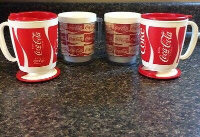 Vintage Plastic Coca-Cola Mugs-Lot of 4-unique