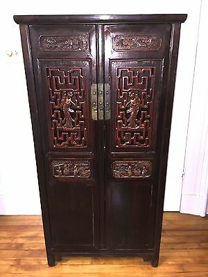 ANTIQUE CHINESE Cabinet Armoire~INTRICATELY CARVED