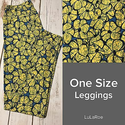 LuLaRoe OS One Size Leggings NWOT Yellow Floral Flowers Blue Background