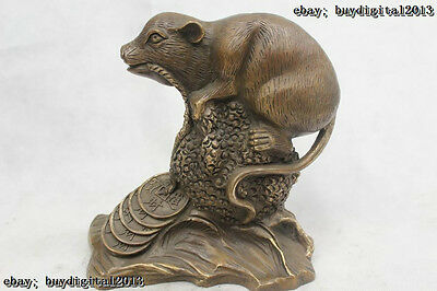 """9""""Chinese Folk Pure Bronze excellent Lucky Money drawing mouse Statue"""