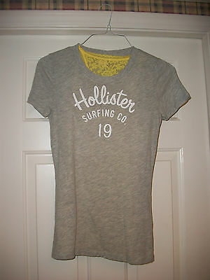 Hollister Surfing Gray Med Women's T-Shirt Yellow Lace Trim Tank Top (NWT) Racer