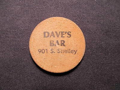 Peoria, Illinois Wooden Nickel token - Dave's Bar Wooden Nickel Rain Check Coin