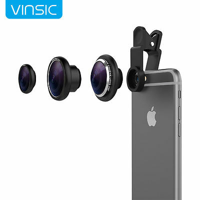 3 in1 Clip-on Camera Lens Fisheye+0.4X Wide Angle+Macro for Cell Phone Universal
