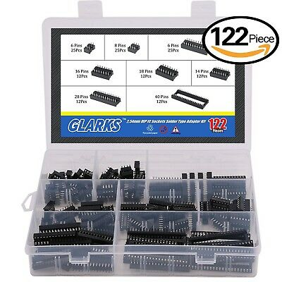 Glarks 122Pcs 2.54mm Pitch DIP IC Sockets Solder Type Adaptor Assortment Kit ...