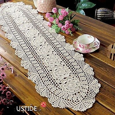 Ustide Floral Hand Crochet Table Runner Doily Beige Lace Table Doilies Cotton...