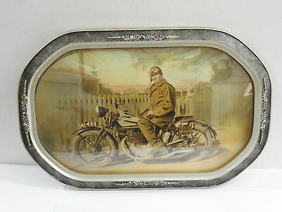 Vintage 1920-30S Norton Motorcycle & Rider Framed Colour Tinted Print
