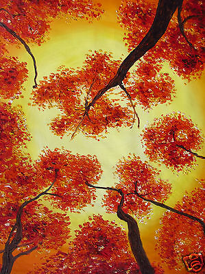 Bushfire Sunset art painting tree landscape 39 inch  thick oil texture by Jane