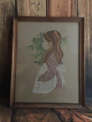 Vintage 1970s Child Girl Crewel Needle Point Frame Picture Art Frontier Handmade