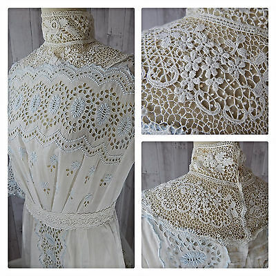 1900s True Antique  EDWARDIAN DRESS~WHITE COTTON VICTORIAN EYELET LACE WEDDING M