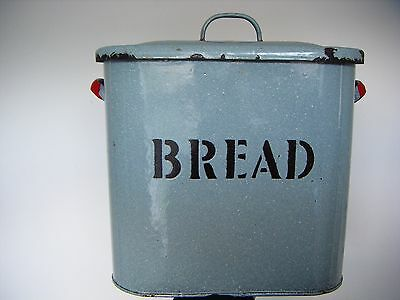 genuine original vintage bread bin light blue/red enamel