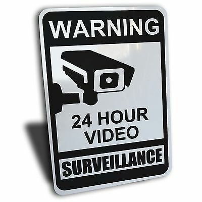 Warning Notice 24 Hour Video Surveillance Sign Black Aluminum Security Camera