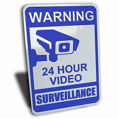 Warning Notice 24 Hour Video Surveillance Sign Blue Aluminum Security Camera