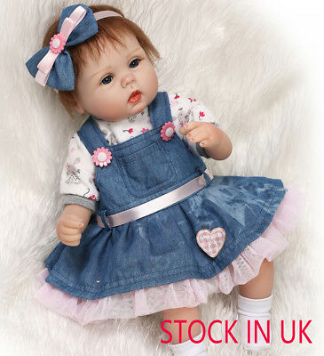 "STOCK IN UK 18"" Soft Silicone Vinyl Real Life Reborn Baby Newborn Baby Doll Gift"