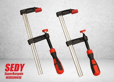 2pc 80mm x 350mm F Clamp Heavy Duty Rubber Grip Wood Metal Work Holding Vice